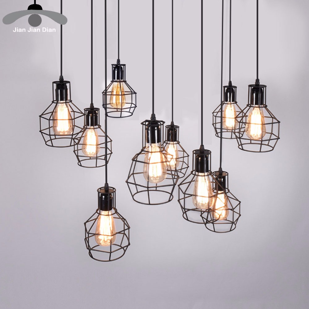 Modern Pendant Light Black Iron Hanging Cage Vintage Led Lamp Bulb E27 Dining Room Restaurant Bar Counter Industrial Loft Retro цена