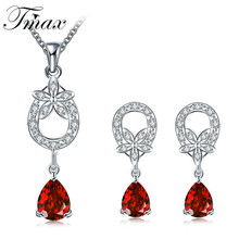 2016 Hot Sale Pendant Necklace Earring Sets Trendy Water Drop Flower Modelling Zircon Red Jewelry Accessories for Women HFNE197