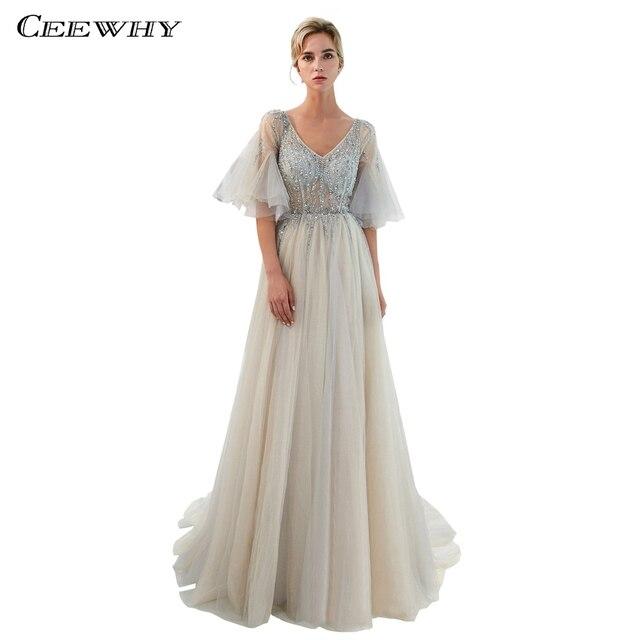 d85303d5223 CEEWHY Gray V-Neck Half Sleeve Glittering Evening Dresses Beaded  Abendkleider Dubai Plus Size Evening Dress Formal Gown