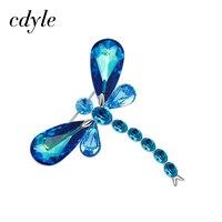 Cdyle Crystals From Swarovski Brooches Women Austrian Rhinestone Fashion Jewelry Elegant Luxury Blue Retro Vintage Dragonfly