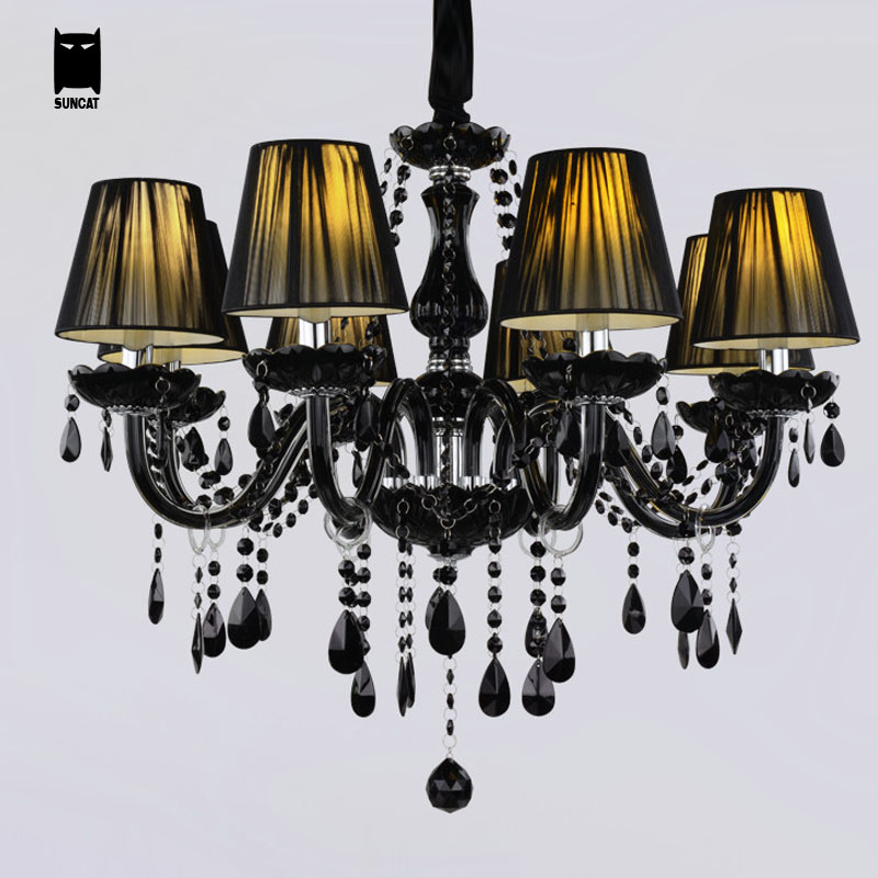 6 8 10 Modern Black Gl Fabric Shade K9 Crystal Chandelier Light Fixture Luxury Led Candle Hanging Lamp Luminaria Re Avize In Chandeliers From Lights