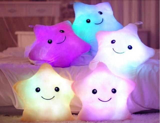 35*40 CM Almohada Luminosa, Almohada Luz LED, colorido Estrella Cojín Anime, Juguetes de navidad Para Niños