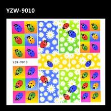 ZKO 1 Sheet 3D Flower Ladybug Image Tattoos Water Transfer Nail Wraps Sticker Manicura Decal
