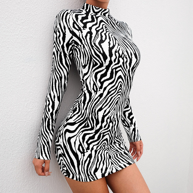 cf5f43958356 Autumn Animal Print Dress Women Zebra Printed Turtleneck Bodycon Short Dress  Elegant Long Sleeve Sexy Mini