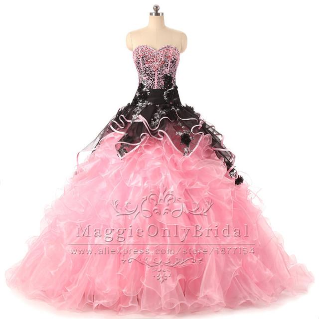 Rosa vestido de quinceanera puffy balón vestido con cuentas de encaje de organza vestidos de quinceañera debutante sweet 16 vestidos de 15 anos