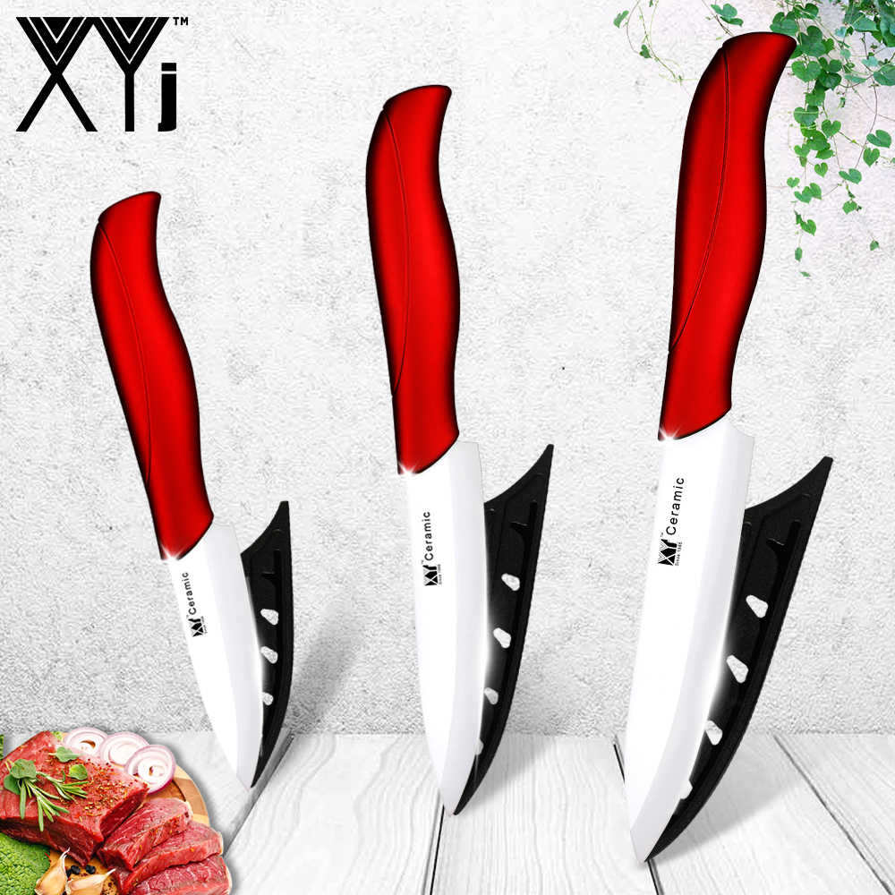 New ceramic knife 3 inch paring 4 inch utility 5 inch slicing knife with white blade +red handle kitchen knives three-piece set