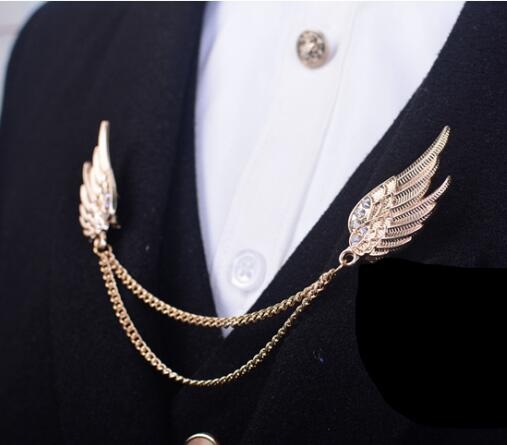269ca233c2fd New Fashion Yellow Gold Love Angel Wings Tassel Crystal Brooch Pin Jewelry Suit  Collar Pins Men's Brooch Collar Clip -in Brooches from Jewelry &  Accessories ...