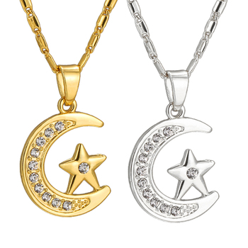 Collier Pendentif Croissant Etoile Musulman