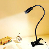 SXZM Led Book Light 3W Led Spot Lamp With Clip On Off Flexible Soft Holder Book