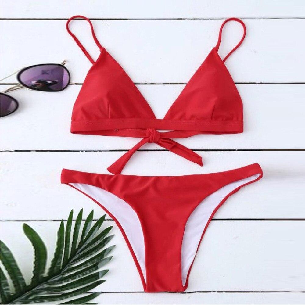 Summer Women Girls Solid Color Bikini Padded Bra Bathingsuit Sexy Beach Two Pieces Swimsuit Low Waist Swimwear 2018 Hot