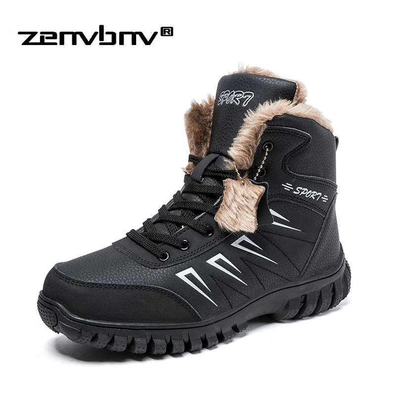 Plus Size 39-48 Winter Snow Boots Men Sneakers Keep Warm Fur Winter Boots Men Waterproof Non Slip Work Shoes Men Ankle Boots mvvt super warm winter men boots snow boots with fur keep warm platform men winter snow shoes waterproof ankle boots