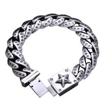 925 Sterling Silver Bracelet Men Jewelry Pentagram Engraved Heavy Vintage Mens Bracelets 2017