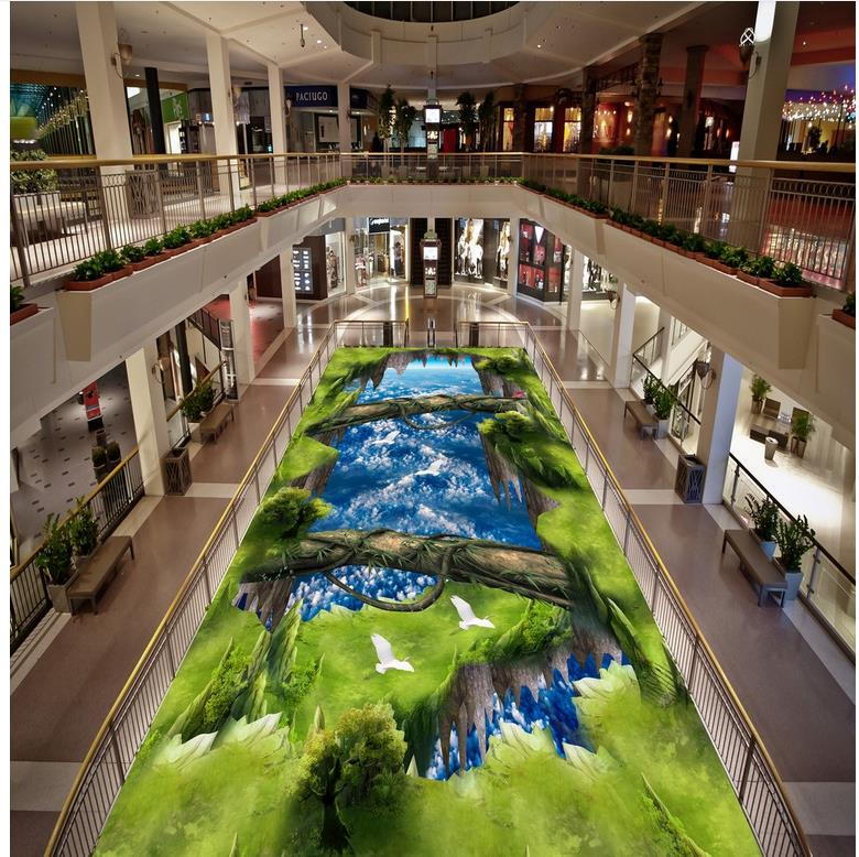 self-adhesive PVC Wallpaper The blue sky white clouds the sky bridge 3d outdoor floor  Modern Floor painting seize the sky