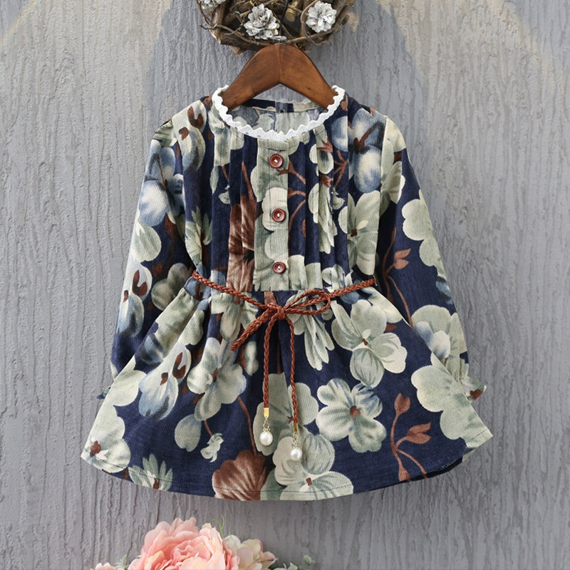 Fashion Autumn Children's Kids Baby Girls Vintage Printed Flora Long Sleeved Princess Casual Dress Vestidos With Belt S4005