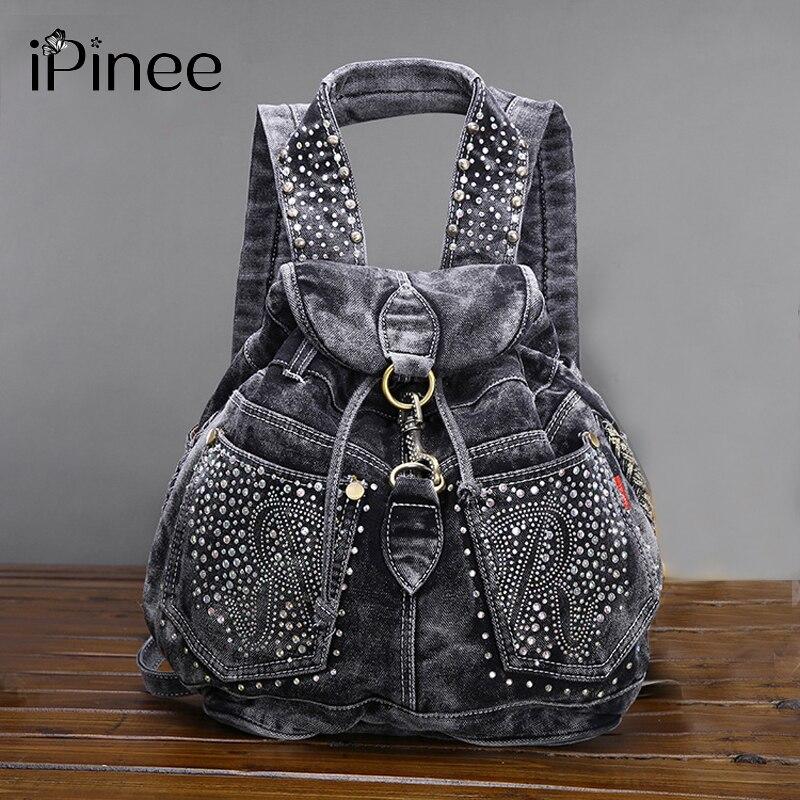 iPinee New Arrival Riveting Backpacks Women's Shoulder Bag Vintage Causal Travel Bags Mochilas Free Shipping Denim Backpack