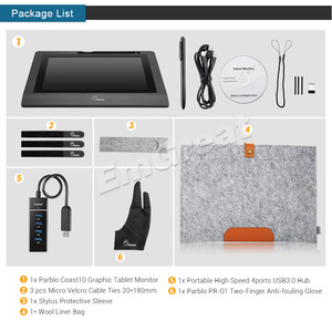 """Image 5 - Parblo Coast10 10.1"""" IPS Graphic Monitor Kit  For Design+ Battery free Pen +Wool Liner Bag+Two Finger Glove+ Stylus Sleeve"""