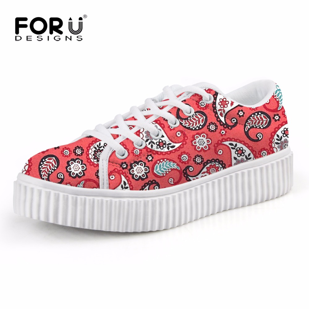ФОТО FORUDESIGNS 2017 Spring Summer Women Flats Lace up Platform Shoes Fashion Paisley Pattern Ladies Creepers Flat Shoes 6 Colors