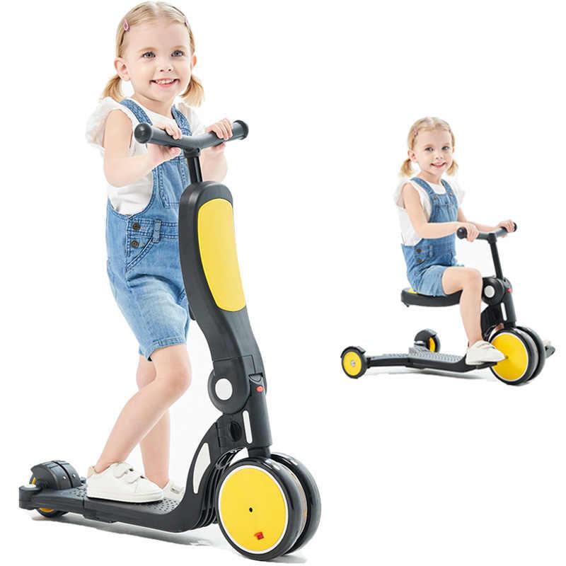 ילדי קטנוע תלת אופן תינוק 3 ב 1 איזון אופני נסיעה על צעצועי תינוק תלת אופן מתקפל אופני ילדים חיצוני פעוטות
