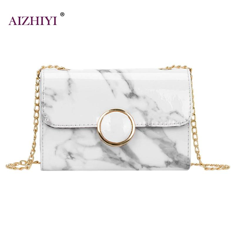Artistic Women Casual Shoulder Handbag Marble Ink Painting PU Leather Chain Messenger Crossbody Bag for Prom Evening Clutch