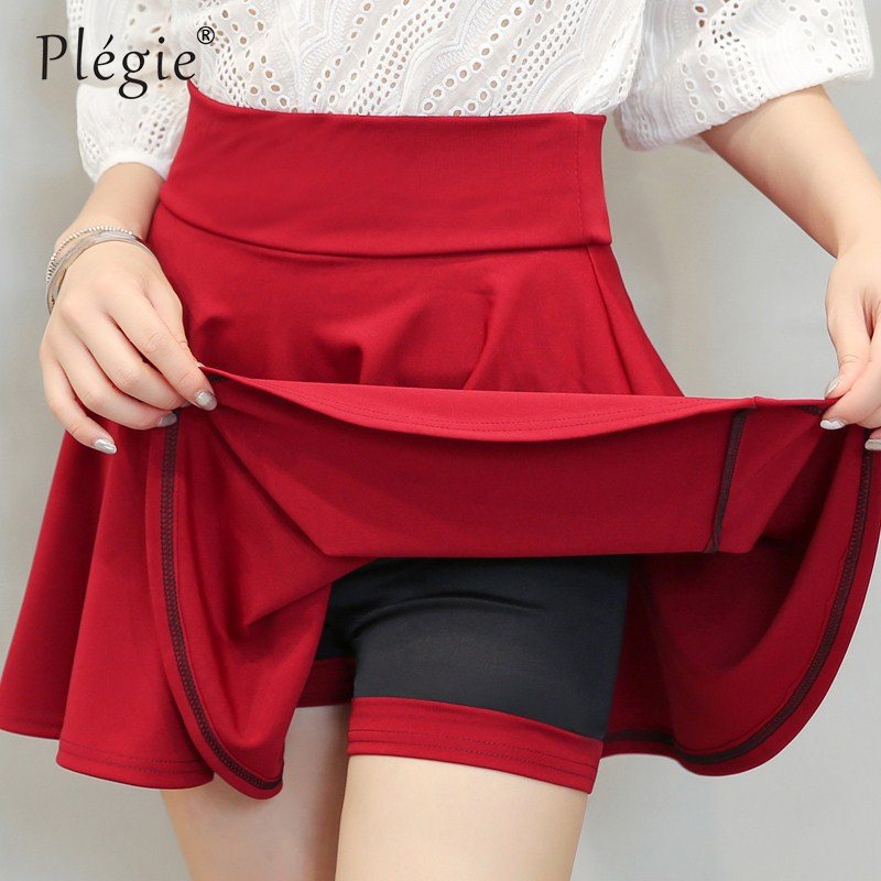 Plegie Plus Size 4XL Shorts Skirts Womens 2019 Summer A Line Sun School High Waist Pleated Skirt Female Korean Elegant Skirt