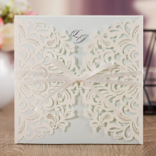 Wishmade Laser Cut Square Wedding Invitations with Bow Inserts and Envelopes Printable Invites Cards for Party Supplies 100pcs