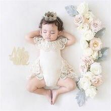 Новинка года; милый двухслойный кружевной комбинезон с цветочным принтом для новорожденных девочек; комбинезон; пляжный костюм