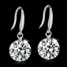Real 925 Sterling Silver Jewelry Drop Earrings Cubic Zircon Created Diamond For Women Bridal Wedding Party