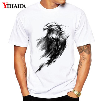 T-Shirt Men Man Harajuku suit gym Print Ink eagle Graphic Tees Casual Summer Tee Shirts Hip Hop Unisex White Tops casual glasses print tee in white