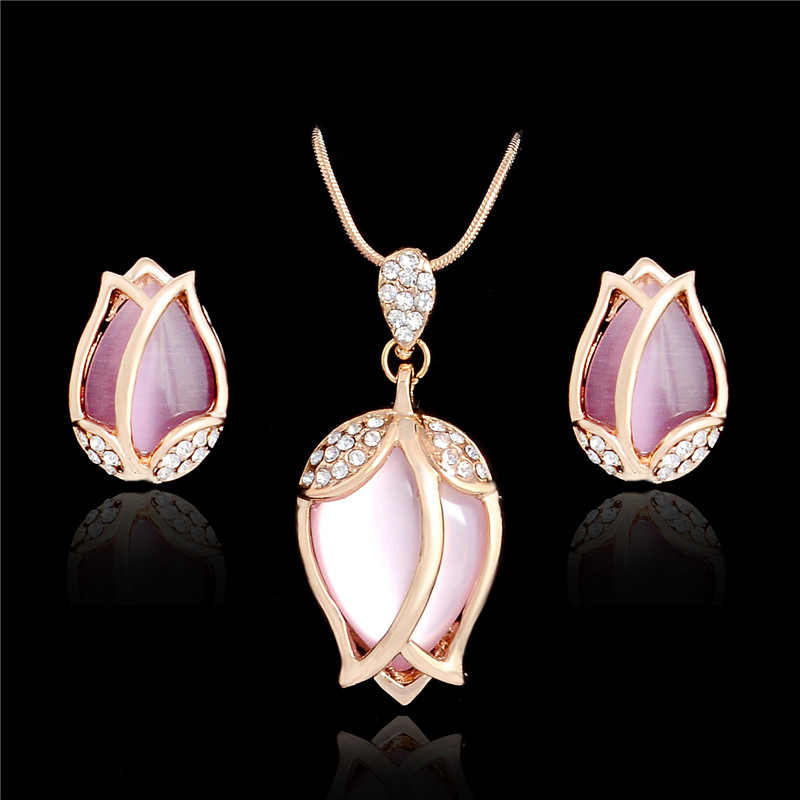 SHUANGR Bridal Jewelry Sets Parure Bijoux Femme Pink Natural Stone Tulip Flowers Jewelry Wedding Jewelry Sets 2016