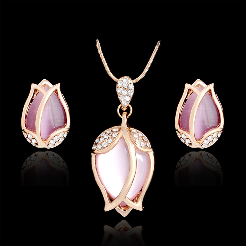 SHUANGR Bridal Jewelry Sets Parure Bijoux Femme Pink Natural Stone Opal Tulip Flowers Jewelry Wedding Jewelry Sets 2016