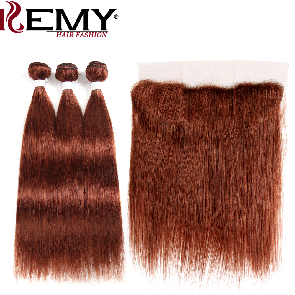 Brazilian Straight Human Hair Bundles With Frontal 13*4  KEMY HAIR Pre-Colored 100% Human Hair Weaves Non-Remy Hair Extension