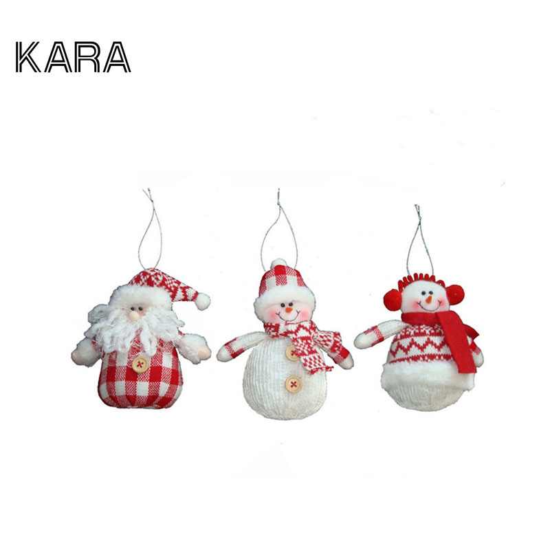 3Pcs/lot Christmas Tree Ornaments Santa Claus Mini Snowman