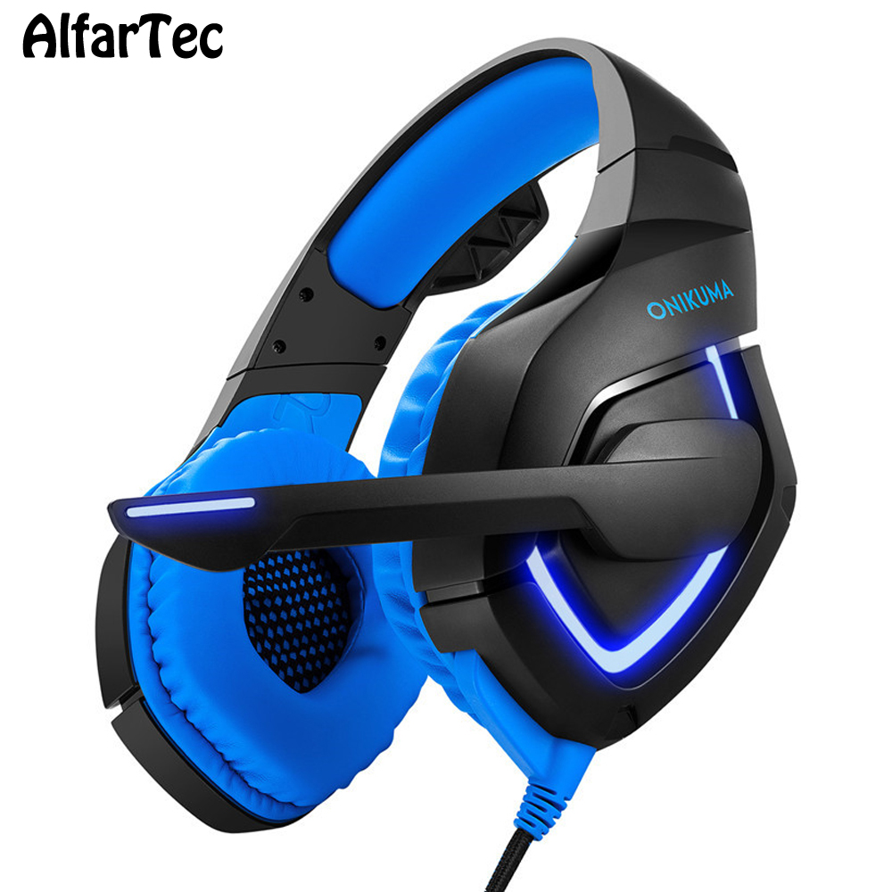 Pro Computer Gaming Headset With Mic 3.5mm Connector HiFi Bass Stereo Over Ear Headphone LED Light Headband For PC Gamer K1-B cd 618 crack led light cool headphone with microphone bass stereo headset earphone wired usb pro for computer gamer headband pc