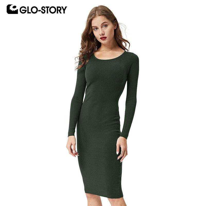 GLO-STORY 2018 New Women Autumn Sweater Dress Multi-Color Basic Solid Long Sleeve Winter Female Ladies Vestidos WMY-4268