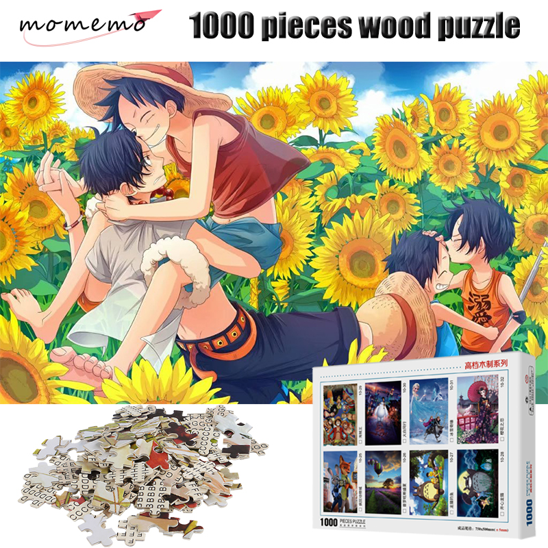 MOMEMO Luffy and Ace 1000 Pieces Puzzle High Definition Cartoon Anime ONE PIECE Wooden Puzzles 1000 Pieces Puzzle Toys for Kids