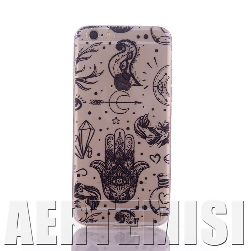 Phone Cases Gypsy Style Henna Series Hamsa Hand of Fatima Mary Ohm Clear Soft TPU Case for iPhone 4 4s 5 5s 5c 6 6s Plus SE