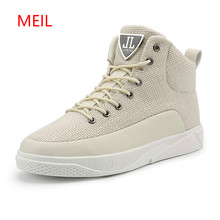 Men Elevator Shoes 2018 Height Increasing 6 CM Canvas Trainers Ankle Boots Lace Up Casual Sneaker Brand High Top