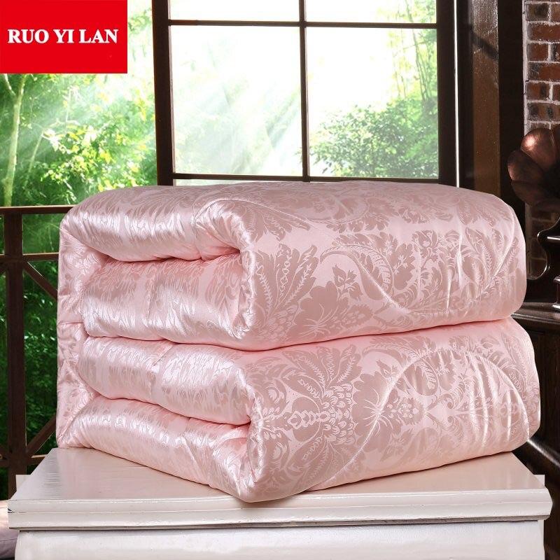 Шелк тутового кашне для зимы/лето Twin queen King Полный размеры одеяло/Стёганое одеяло белый/розовый/бежевый наполнитель