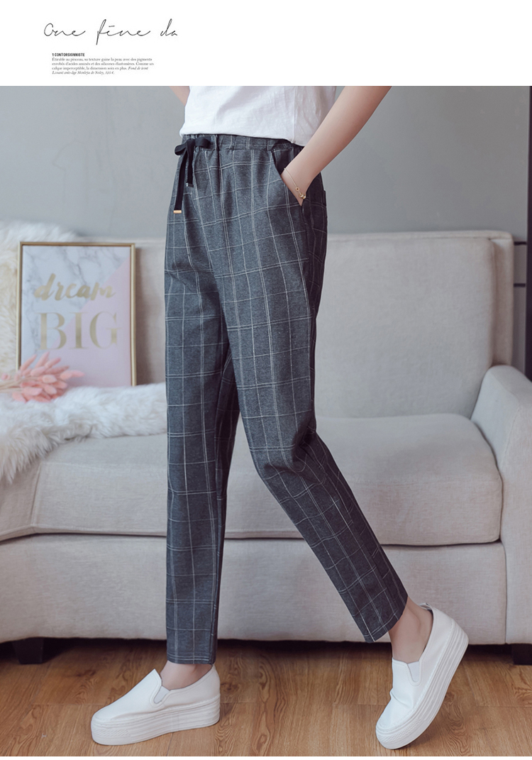 Make English plaid pants female easy to restore ancient ways recreational pants the spring and autumn period and the new female 15