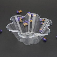 Disposable Clear Plastic Flower Shape Ice Cream Bowl Coming with Spoons Ice Cream Packaging Dessert Shop Supplies 100pcs  DEC369