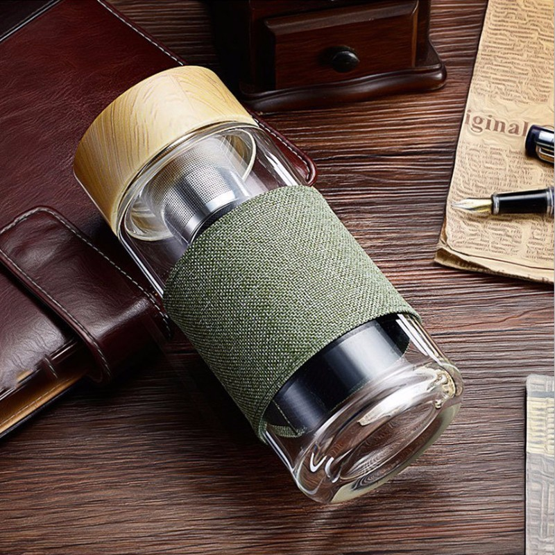 400ml Glass Water Bottles With Stainless Steel Filter