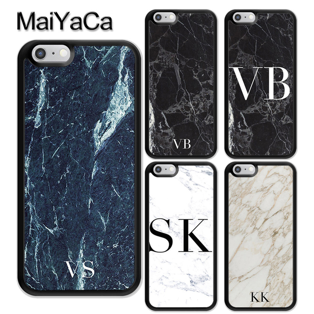 d1573d30665 MaiYaCa MONOGRAM PERSONALISED MARBLE INITIALS Rubber Back Cover Fundas For  iPhone 6 6S 7 8 Plus X XR XS MAX 5 5S Phone Case