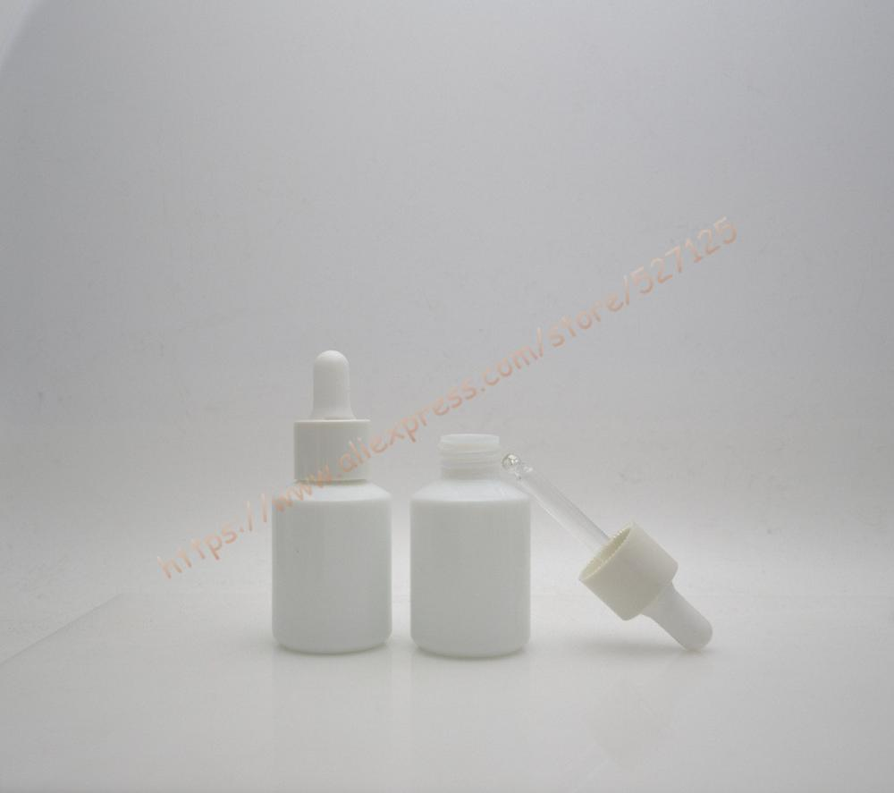 30ml Natural white glass bottle with white dropper lid dropper container essential oil bottle professional cosmetic