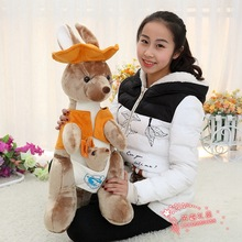 big simulation plush kangaroo toy kangaroo doll with hat gift about 90cm 448