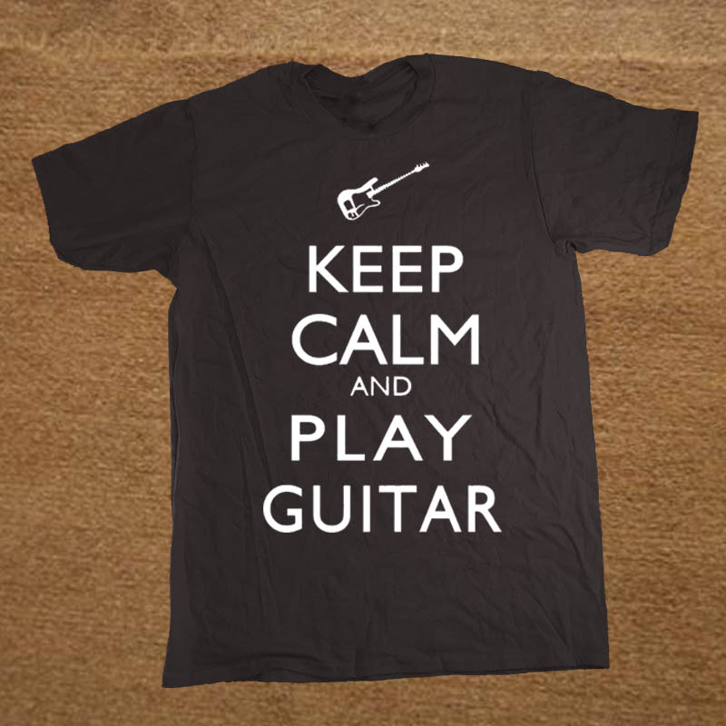 Summer New KEEP CALM AND PLAY GUITAR   T     Shirt   Men Short Sleeve Printed O-neck Cotton Cartoon   T  -  shirt   Tops