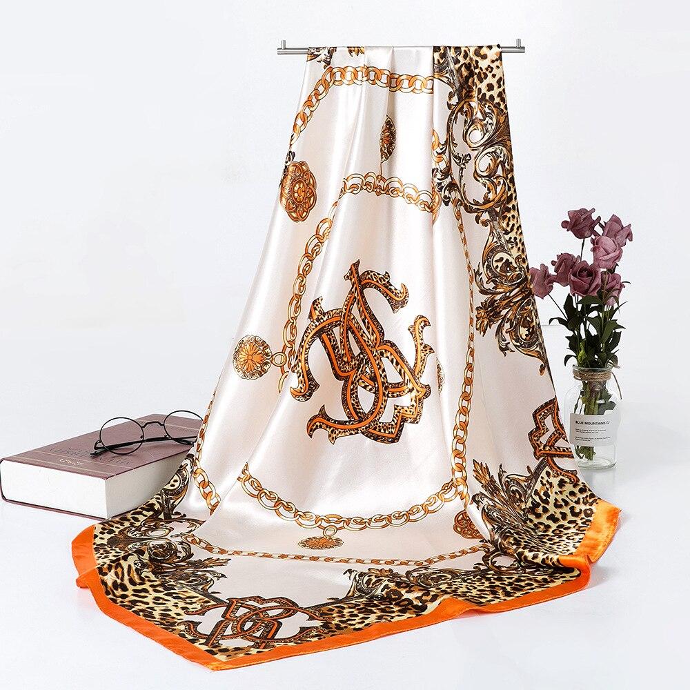 Fashion Shawl Scarf For Women Print Silk Satin Hijab Scarfs Female 90cm*90cm Luxury Brand Square Shawls Scarves For Ladies 2019(China)