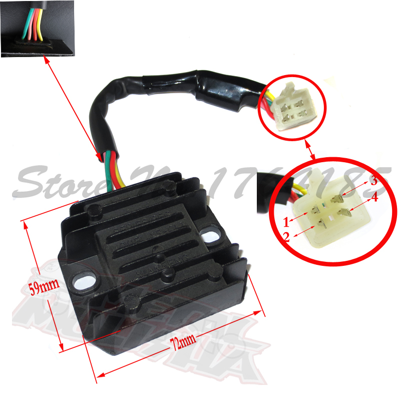 4 pin Voltage Regulator Rectifier ATV GY6 50 150cc Scooter