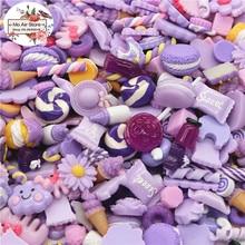 mix design dessert Cartoon purple dream color 100pcs Resin Flat back Cabochon Art Supply Decoration Charm Craft