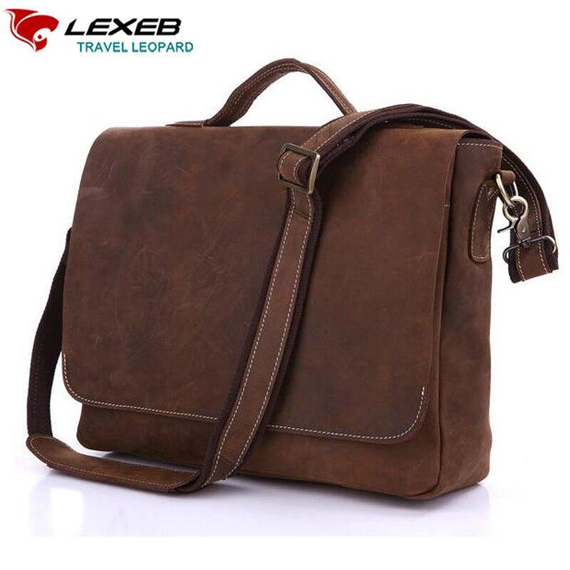 LEXEB Brand Men Business Real Genuine Leather font b Laptop b font Bag 14 Luxury Crazy
