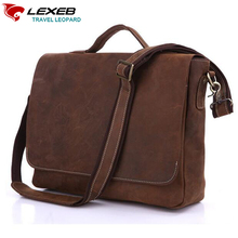 LEXEB Cow Leather Tote Briefcases For Men, College Satchels Bag Fit 15.6″ Laptop, Flap-Cover Messenger Bags, Brown